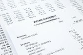 Income statement with detail list of revenues and expenses accounting concept for small business black and white tone image poster