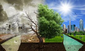 Two options / sides , eco concept, eco digital art
