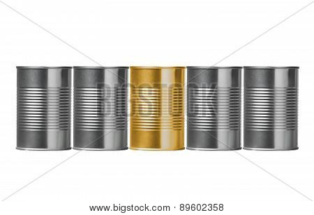 Tin Cans Isolated On White Background
