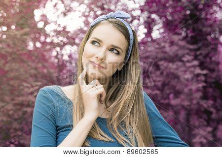 Blonde woman wondering