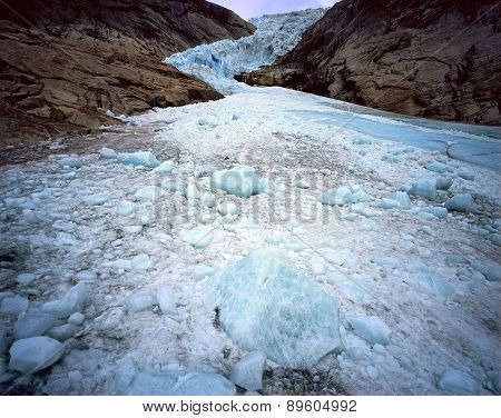Glacier Briksdal in national park Jostedalsbreen, Norway