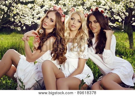 Charming Girls In Elegant Dresses And Flower's Headband