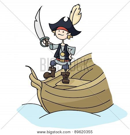Pirate Boy Holding Sword