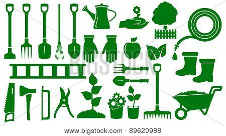 set isolated green garden tools
