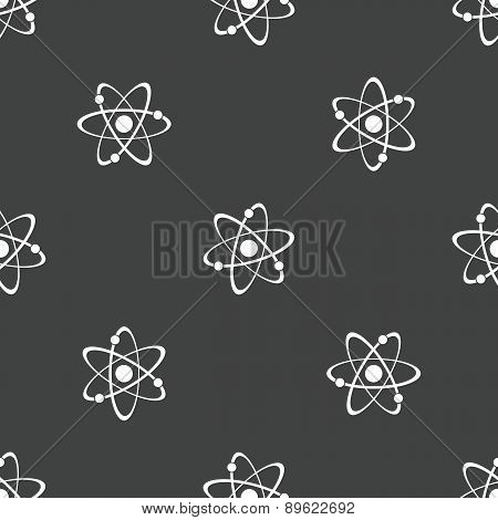 Image of atomic structure repeated on grey background poster