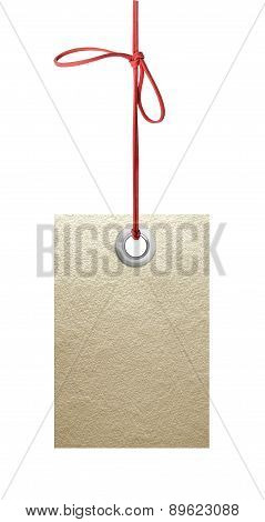 Paper Tag With Metal Grommet Isolated On White Background