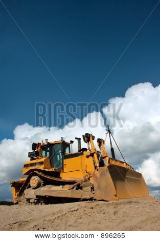 Heavy Duty Bulldozer At Work