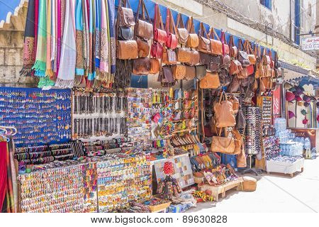 AS-SAWIRA, MOROCCO, APRIL 7, 2015: Stands with souvenirs and curios