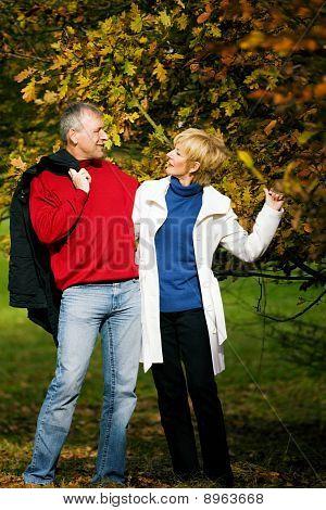 Mature couple having a walk