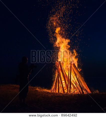 Big Bonfire Against Dark Night Sky