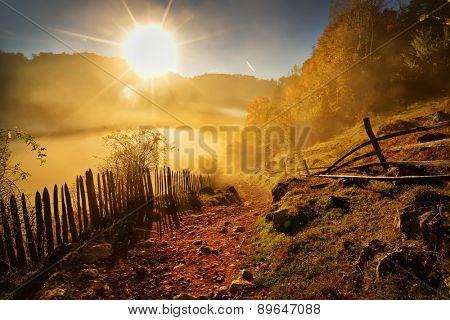 mountain landscape in autumn morning