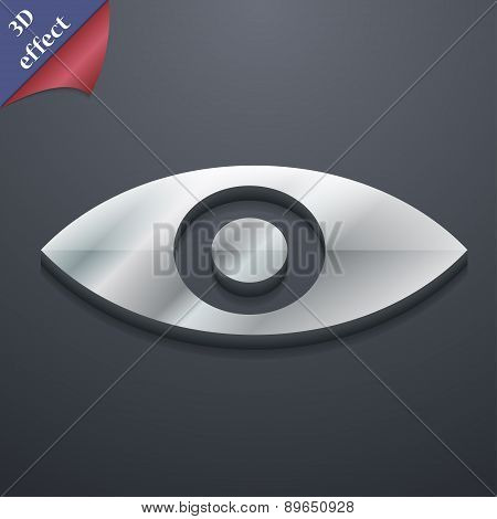 Eye, Publish Content, Sixth Sense, Intuition Icon Symbol. 3D Style. Trendy, Modern Design With Space