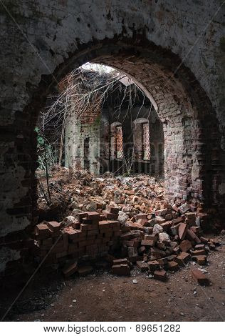 In the ruined Church.