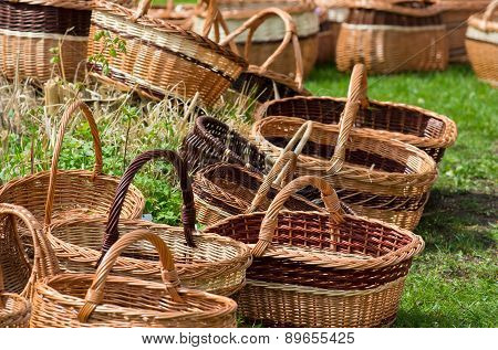 Wicker Baskets At Market