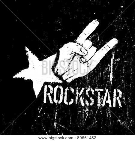Rockstar symbol, sign of the horns gesture grunge composition on black