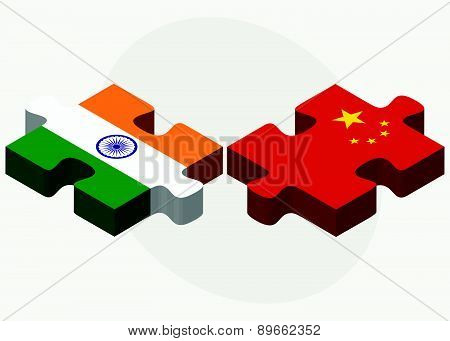 India And China Flags In Puzzle