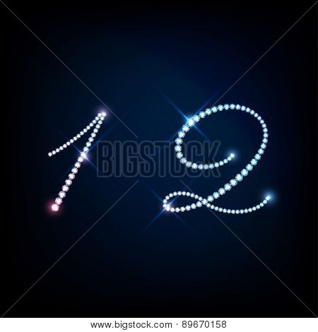 """Diamond glittering numbers one """"1"""" and two """"2"""" of sparkling brilliants (glitter font concept) poster"""