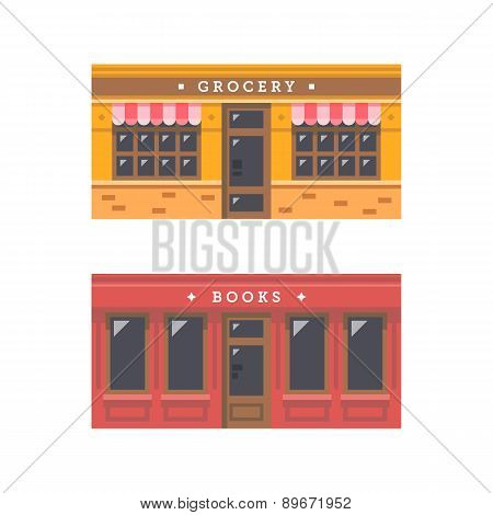 Flat design grocery and book store facade. poster