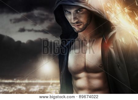 Athlete man with a lot of internal force