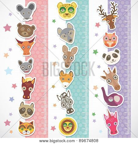 Children Height Meter Wall Sticker Set. Funny Animals Muzzle Stiker With Stars Pink Lilac Blue Strip