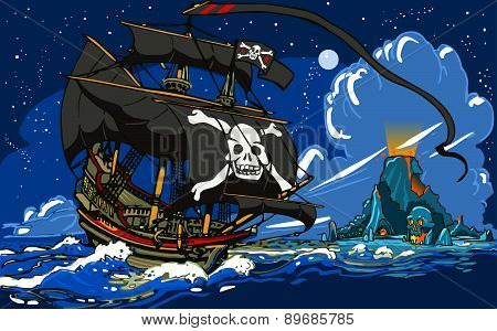 Pirate Ship Sailing to The Skull Island