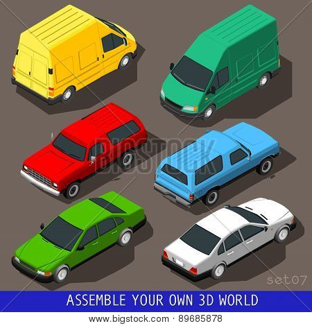 Isometric Flat 3D Vehicle Set