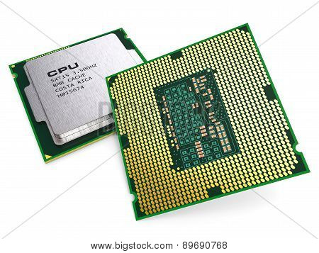 Group of computing processor CPU chips isolated on white background 3d. Hardware technology PC poster