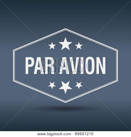Par Avion Hexagonal White Vintage Retro Style Label