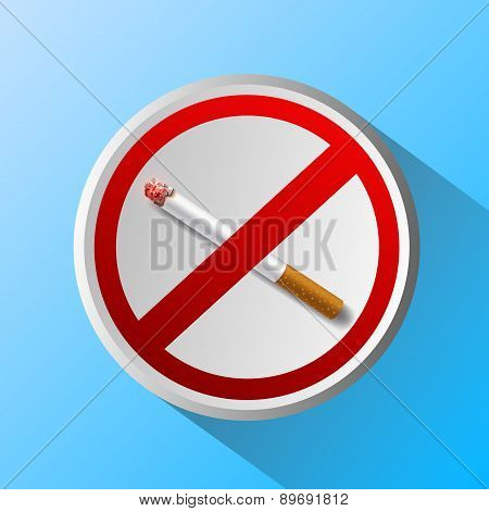 Ashtray With Cigarette And Prohibitory Sign
