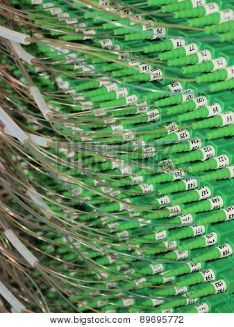 Fiber Optic Connectors in the back of a Distribution Hub