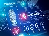 Security Technolgy and ID verification with Fingerprint Scan Concept poster