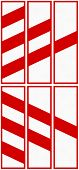 Polish level crossing countdown markers for the right (top) and left (bottom) side in distances of 240 160 and 80 meters. poster