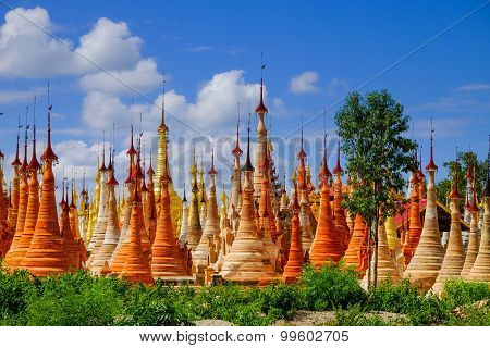 Scenic View Of Colorufl Pagodas In Indein Village, Inle Lake
