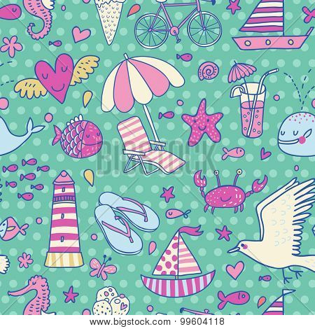 Cool seamless pattern with summer elements: lounge, seagull, umbrella, bicycle, ice-cream, crab, whale, cocktail, lighthouse, fishes, yacht, seahorse in bright holiday colors