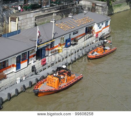 LONDON- 23 AUG: The lifeboat station at waterloo bridge, london, is one of the newest four stations that operate along the river thames. LONDON, 23 AUG, 2015.