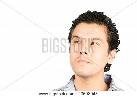 Portrait Hispanic Man Looking Up Copy Space Think