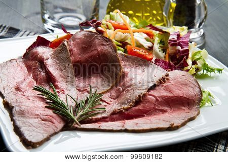 Slices Roastbeef With Mixed Salad
