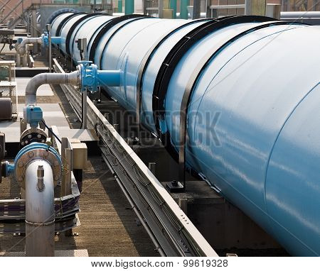 Large water pipe in a sewage treatment plant