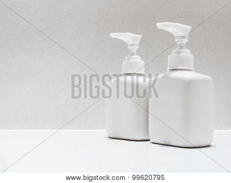 Mock up Bottle Bath Shampoo Soap Spa Toiletries cosmetic in Bathroom poster