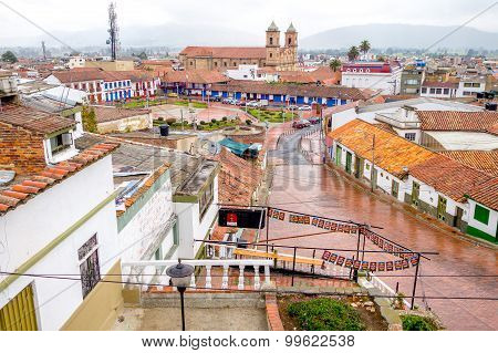 Overview during a rainy day at beautiful historic city Zipaquira, located in the middle of Colombia,