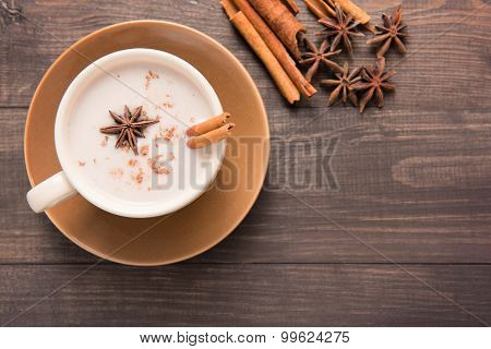 Masala Chai With Spices Cinnamon , Cardamom, Ginger, Clove And Star Anise On Wooden Background