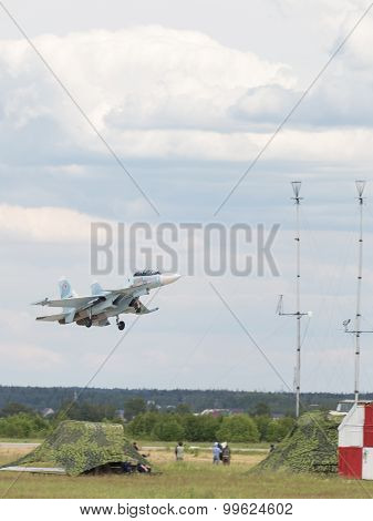 Su-30 Takes Off Into The Sky