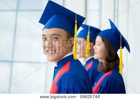 Graduates at commencement ceremony