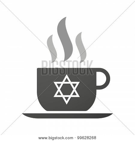 Cup Of Coffee Icon  With A David Star