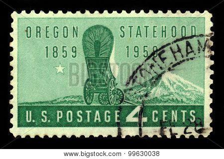 Wagon And Mount Hood, Oregon