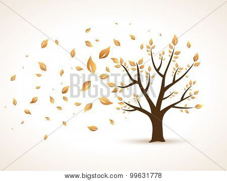 Gold Autumn. Abstract Vector Tree shaken by Wind