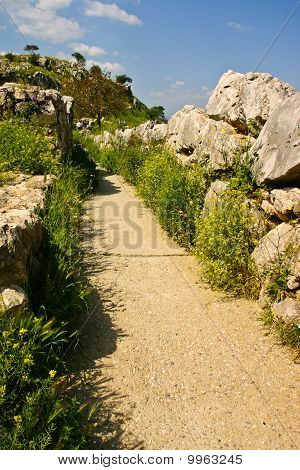 Footpath Of An Ancient Hilltop Palace