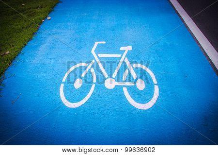 Bicycle Symbol Lane  On The Road