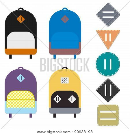 Four flat colorful backpacks and five lash tabs. poster