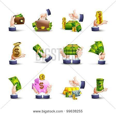 Hands cash payment icons set